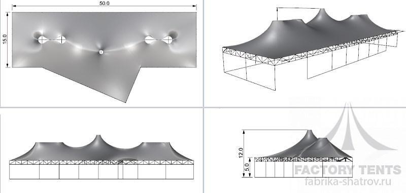 Мембранный шатер 25х50 м -схема