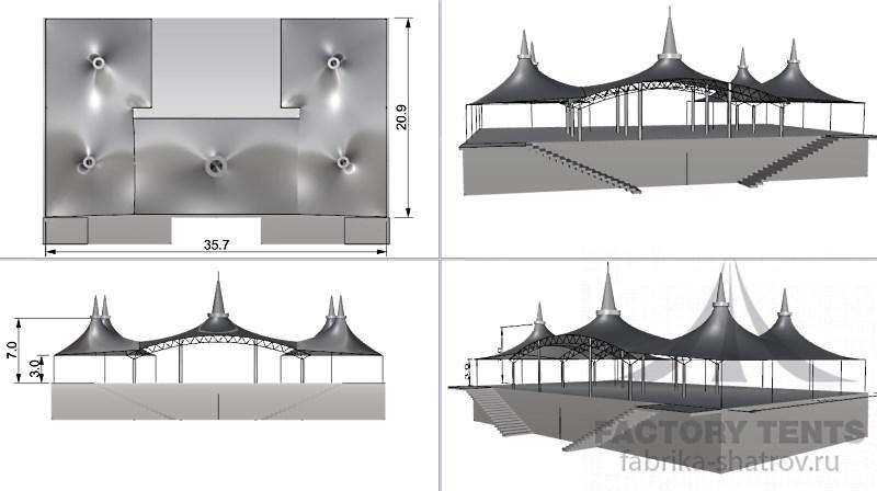 Мембранный шатер 36Х21 - 610 м² Производитель: «Фабрика шатров» (Россия)