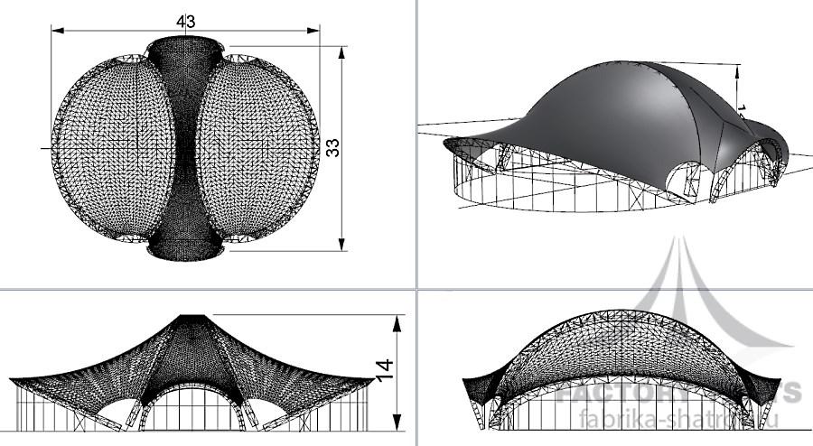 МЕМБРАННЫЙ ШАТЕР 43*33 Фабрика шатров - схема с размерами
