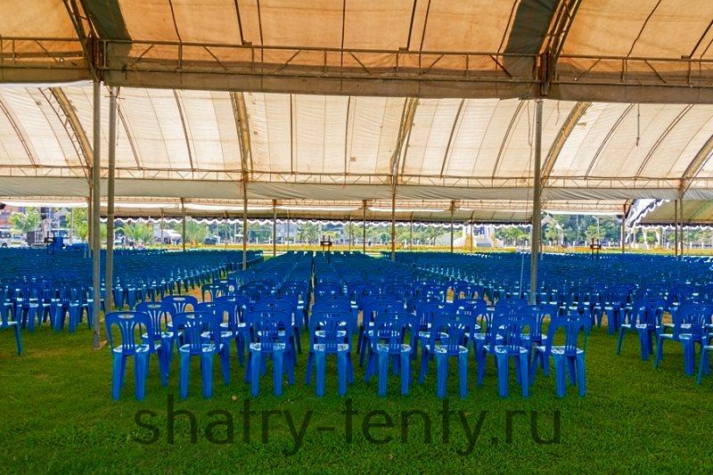 Конференц-зал на природе  с расположением только сидячих мест под тентом