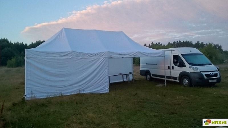 Мобильный шатер 4х8 на туристическом отдыхе в кемпинге