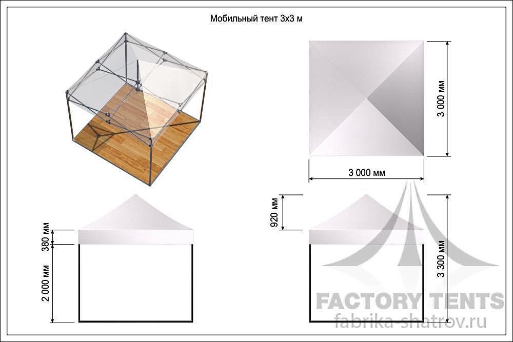 Схема мобильного шатра 3х3