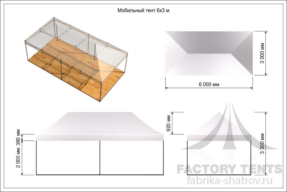 Схема мобильного шатра 3з6м