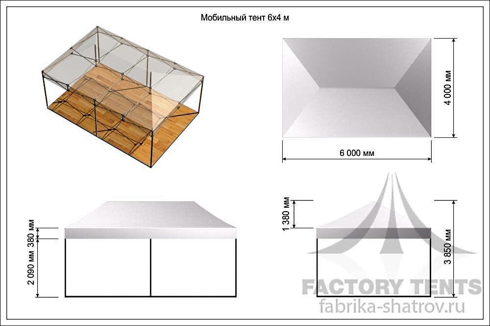 Мобильный шатер 4х6м производитель Фабрика Шатров