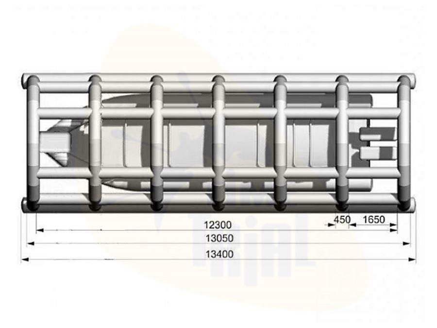 Надувной ангар для плавсредств WATERWAYS, схема с размерами