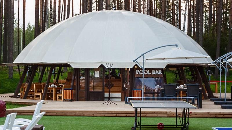 Павильной с купольной сферической крышей из тента