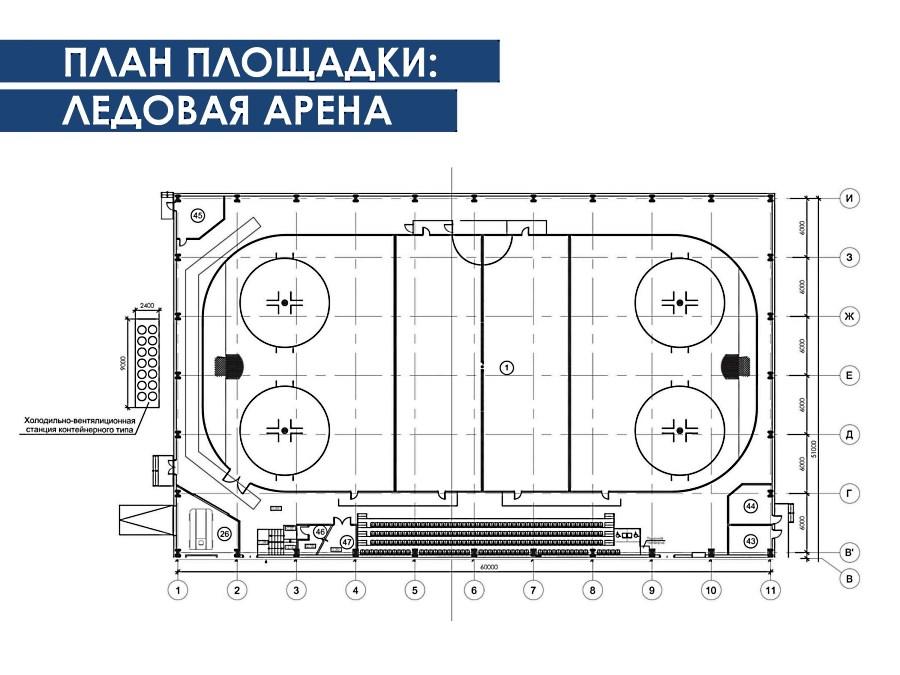 План-схема ледовой арены с размерами