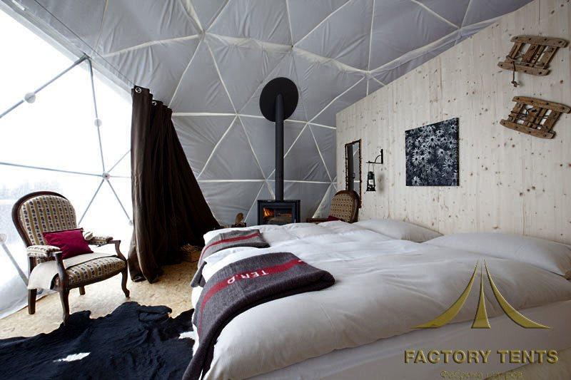 Спальная комната в геодезическом шатре