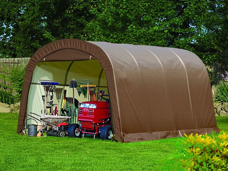 прямоугольный тентовый гараж для садовой техники