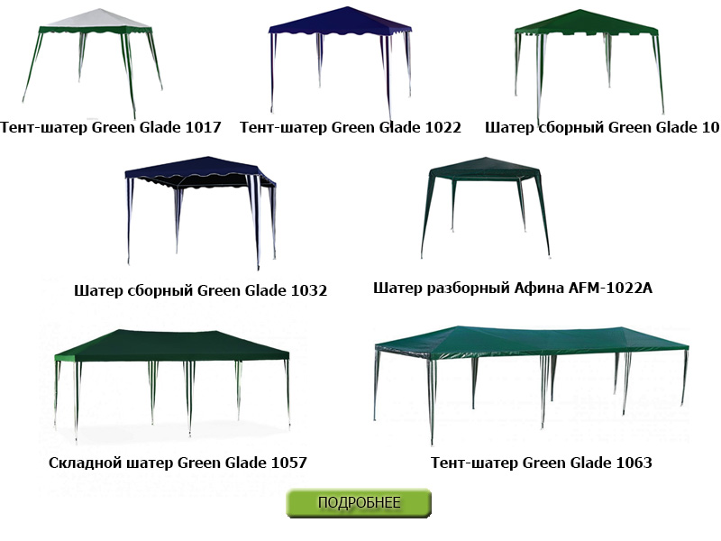 Бюджетные сборно-разборные шатры Green Glade