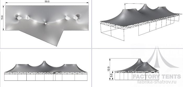 Эксклюзивный мембранный шатер для выставки 25х50м