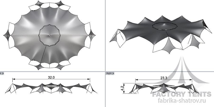 Схема мебранный шатер 24,8х32,1 Фабрика Шатров