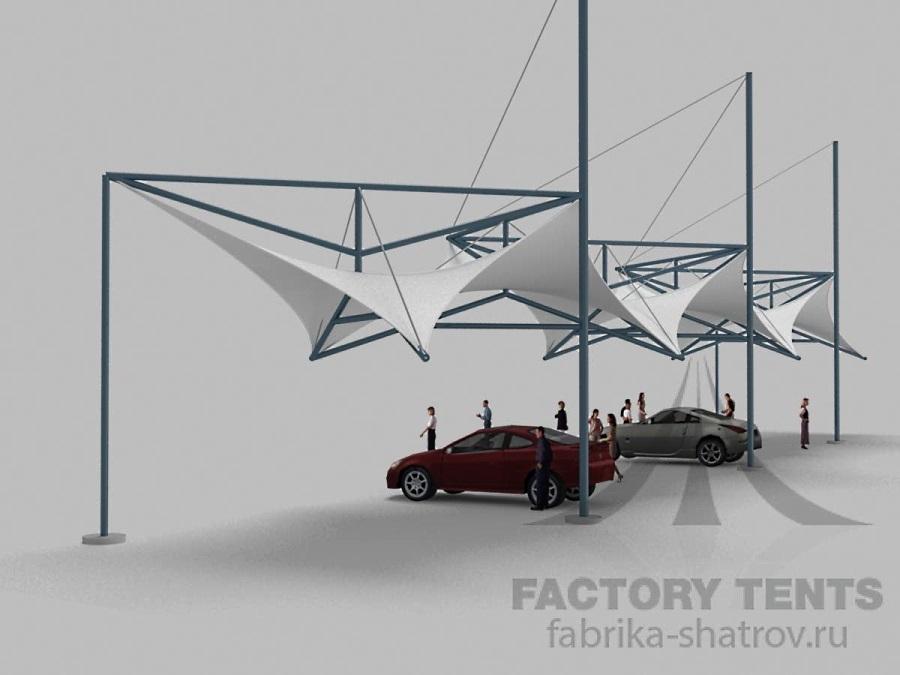 Мембранный шатер 36х6 м компании Фабрика Шатров для стоянки автомобилей