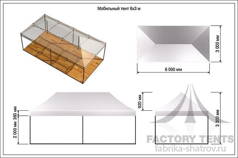 Мобильный шатер 3х6 -схема с размерами