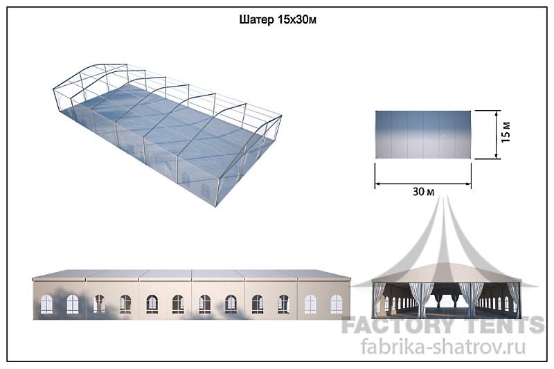 Большой двухскатный шатер 15х30 - схема с размерами