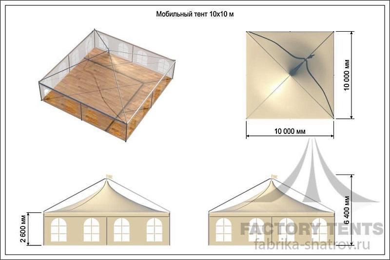 Схема с размерами шатра Пагода 10х10 в комплектации Лондон