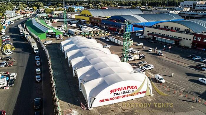 Сельскохозяйственная ярмарки в большом арочном шатре