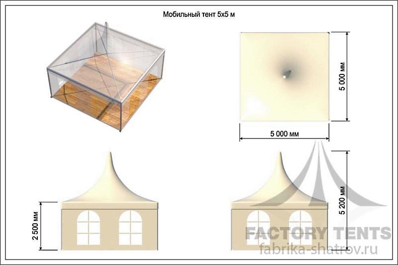 Шатер пагода 5х5х компании Фабрика Шатров - схема с размерами