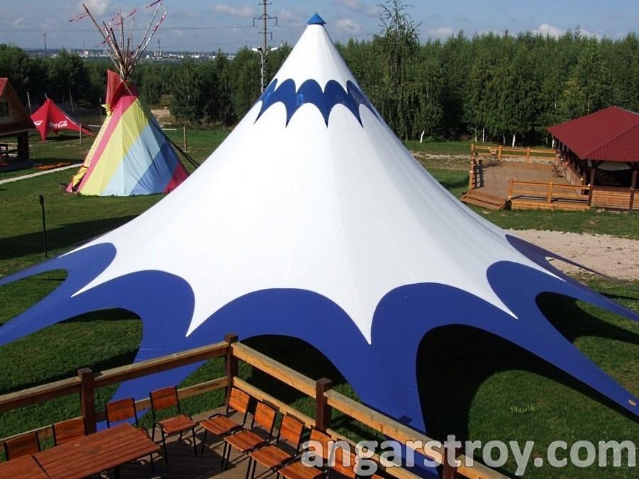 Двухцветый шатер Звезда на ровной площадке