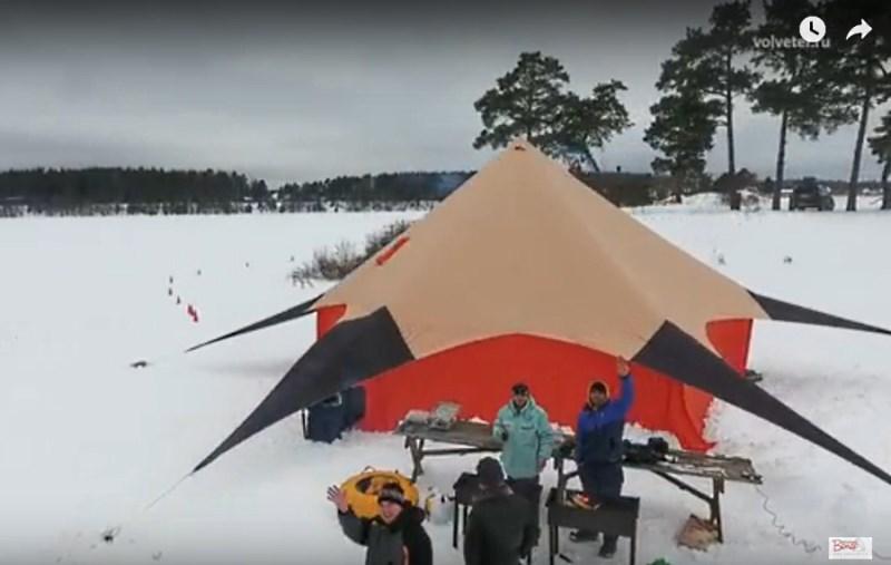 Шатер Звезда с пологом зимой на снегу
