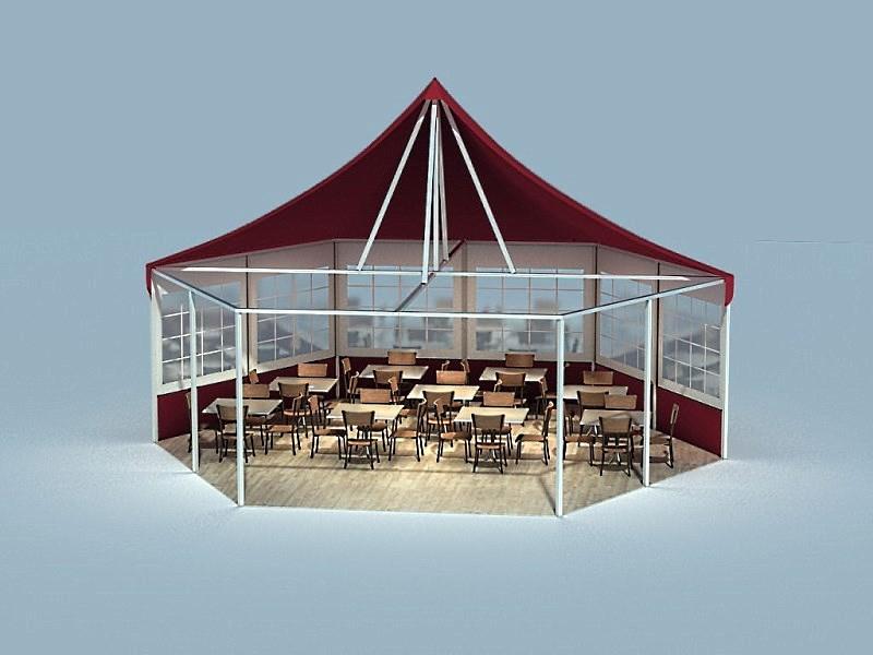 Шестигранный шатер вместимостью 100 человек