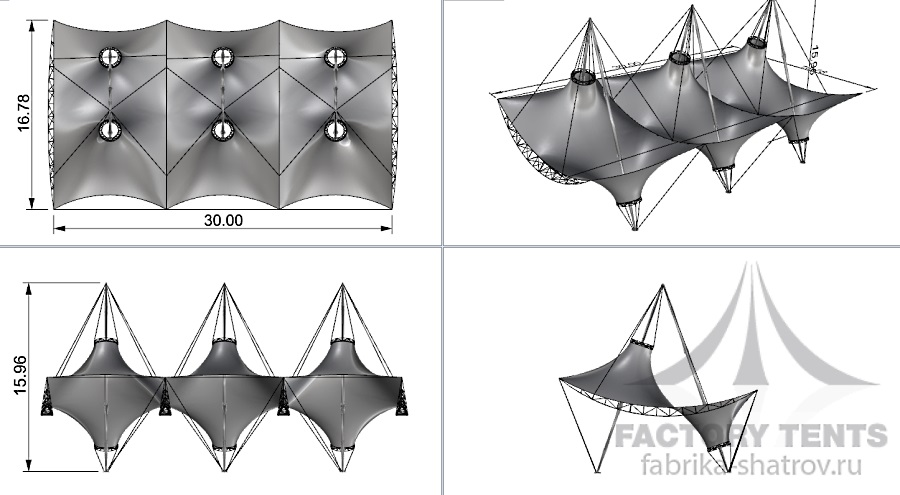 Схема мембранного шатра 30х17 м Фабрика Шатров