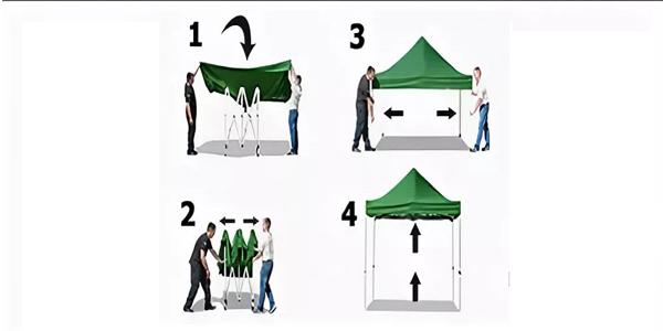 Пошаговая схема сборки мобильного шатра