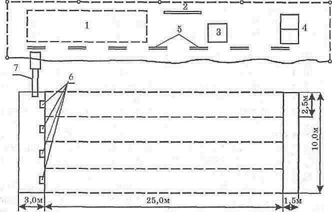 Схема стандартного бассейна на 4 дорожки