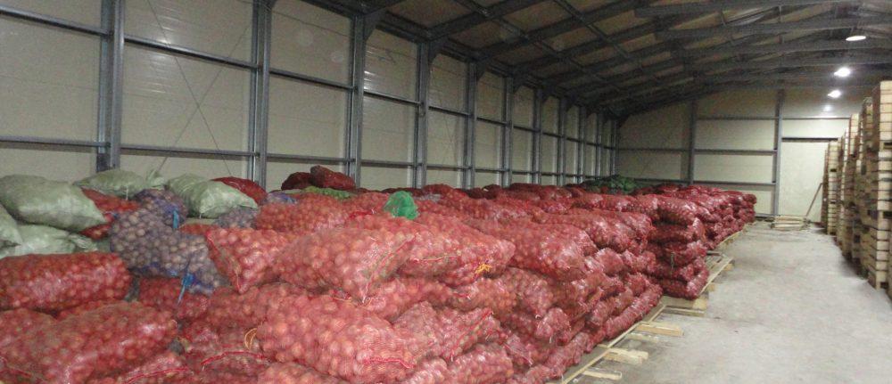 Тентовый склад для хранения картошки