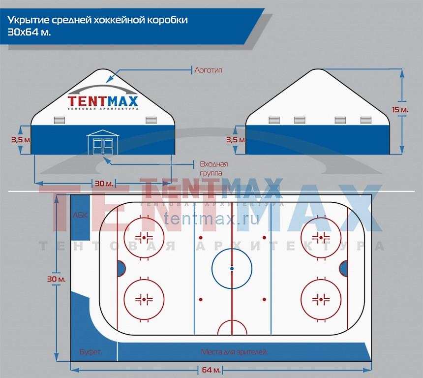Средняя хоккейная коробка 30х64, компании ТентМакс