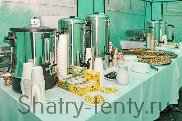 Шведсткий стол с горячими напитками в водонагревателях