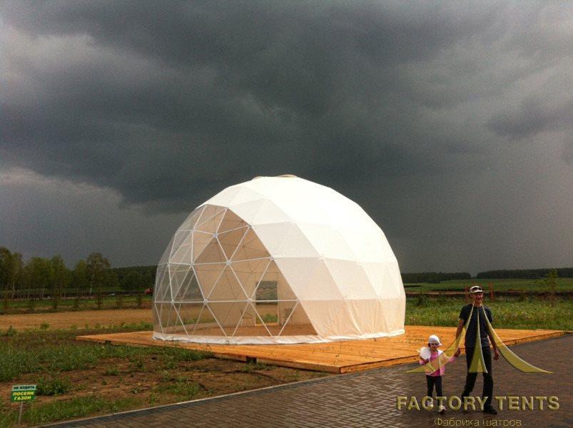 Тентовый сферический дом д=6м, на деревянном подиуме